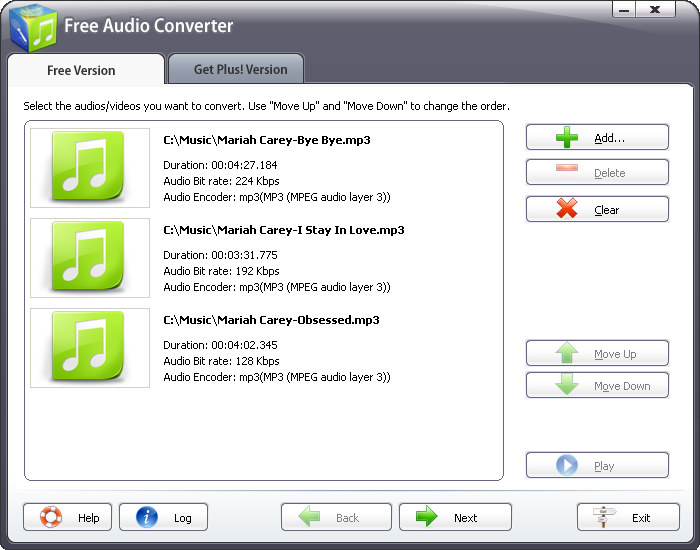 Click to view Free Audio Converter 2009 2.1.9 screenshot