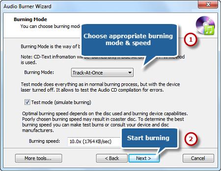 Select Burning Mode/Speed and Start CD Burning
