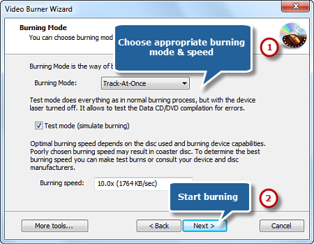 Select Burning Mode/Speed and Start Burning